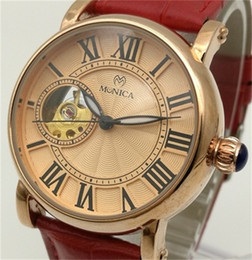 Wholesale Antique China Brands - Automatic Mechanical Watches Factory Direct Sales Woman's Leather Retro Style Hollowed Out Watch Roman Numerals Face Plate Brand China