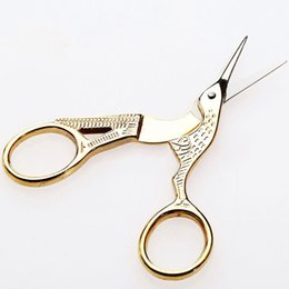 Wholesale Dressmaking Scissors - Gold Stork Sewing Scissors Trimming Dressmaking Shears Cross-stitch Carbon Steel Tailor Scissor Sewing Embroidery Fabric DJ0382