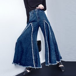Wholesale Slacks Female - Wholesale- Women Denim Wide Leg Pants Female Korean High Waist Thin Cowboy Flash Student Tide Slacks Bellbottoms Jeans Fashion Big Flared