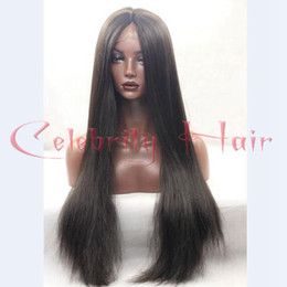Wholesale Glueless Light Yaki Lace Wigs - Wholesale 150%density light yaki straight glueless synthetic lace front half hand wig heat resistant for black women&no lace wig