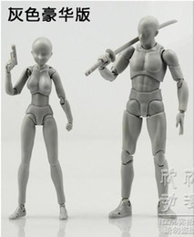 Wholesale Female Mannequin Plastic - Wholesale- Gray color sketch drawing cartoon mannequin 15cm male   13cm female model plastic massage model with stand free shipping