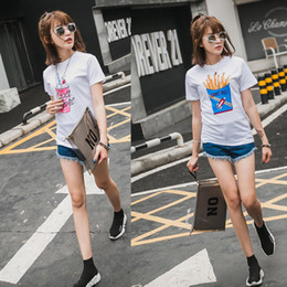 Wholesale Cartoon T Shirts For Women - 2017 summer ice cream crisps print short sleeve cotton white t-shirt for women cartoon t shirts women's fashion tees and tops