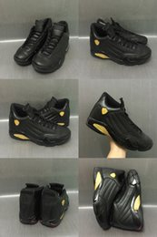 Wholesale Packaging Box Shoes - 2017 New Products Air Retro 14 DMP Basketball Shoes Black Gold Deigning Moments Package Sneakers Sport Shoes with Box US 8-13