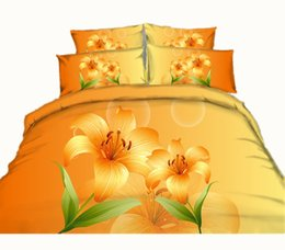 Wholesale Orange Flowered Comforter - 3 Styles Orange Flower 3D Printed Bed Sets Twin Full Queen King Size Fabric Cotton Duvet Covers Pillowcases Comforter Lily Pearl Coffee Gift