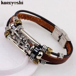 Wholesale Leather Dragon Bracelet - bracelet men Accessoires homme 2016 Tibetan silver men leather bracelet fashion male vintage parataxis dragon Multilayer jewelry