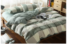Wholesale King Comforter Set Orange - Japan Korean style home textiles Green big check plaid 100% water washed cotton 4pcs fitted sheet comforter duvet cover bedding set B3819