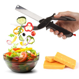 Wholesale Chinese Cutter - 2 In 1 Multi-Function Kitchen Scissors Cutter Knife&Board Stainless Steel Kitchen Knives Meat Potato Cheese Vegetable Cut