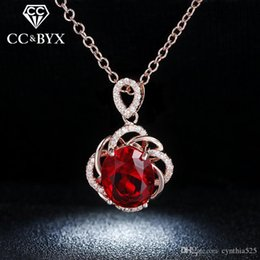 Wholesale Statement Necklace Gold Filled - Wholesale Pendents Statement Necklaces For Women Red 925 Sterling Silver CZ Diamond Fashion Jewelry Wedding Party Gift Accessories N010