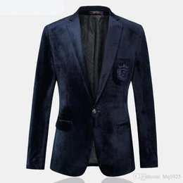 Wholesale Velvet Fitted Dresses - New Men Suit Jackets Gold Velvet Male Dresses High Quality Casual Blazer Fashion Brand Designers Slim Fit Business Dress