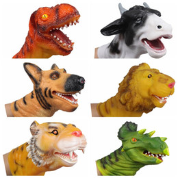 Wholesale Hand Puppet Dog Toy - Wholesale-Quality Soft Vinyl PVC Animal Head Figure Dinosaur Tiger Lion Cow & Dog Hand Puppet Gloves Children Toy Model Gift