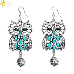 Wholesale Blue Fish Plate - CSJA Owl Shaped 925 Silver Color Fish Hooks Earrings Dangles Chandelier Blue Turquoise Gemstone Beads Charms Pendant Jewelry Hot Sale E510