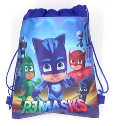 Wholesale Wire Travel - 24pcs Cartoon PJMASKS Draw string Bag Non-Woven Drawstring Bag Kids Backpacks Birthday Theme Gift Bags Travel Storage Bags