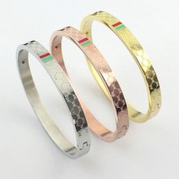 Wholesale Circle Steel Plate - 316L stainless steel brand love bracelets bangles for women wholesale red and green stripes Ladies Buckle bracelet three drops