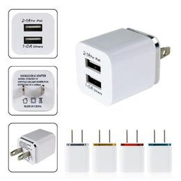 Wholesale Double Docking - 2015 High Quality 5V 2.1 1A Double US AC Travel USB Wall Charger for iPhone Samsung Galaxy HTC Cell Phones Adapter DHL