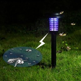 Wholesale Solar Mosquito Killer Light - Wholesale- LED Solar Powered Outdoor Yard Garden Lawn Light Anti Mosquito Insect Pest Bug Zapper Killer Trapping Lantern Lamp