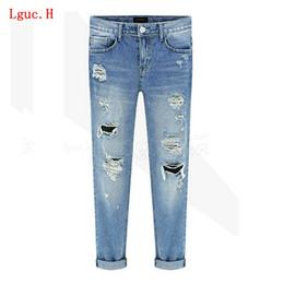 Wholesale Paints Female Jeans - Wholesale- Lguc.H Unique Fashion Women Ripped Vintage Blue Jeans for Spring Summer Autumn Female Loose Casual Pencil Pants Cotton 31 2017