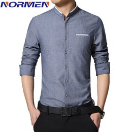 Wholesale Easy Fit Brands - Wholesale- New Brand Men's Casual Shirt Long Sleeve Banded Collar Easy Care Collarless Shirts Slim Fit Dress Shirt For Men Business