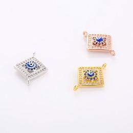 Wholesale Pave Evil Eye - Wholesale- Hot Sale Micro Pave Zircon Enamel Evil Eye Charm Connectors For Women Men DIY Jewelry Accessories Charms Fits Original Bracelet