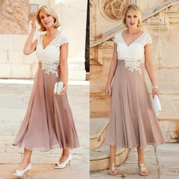 Wholesale Mother Groom Outfits - Lace Cap Sleeve Chiffon Mother Of The Bride Dresses Tea Length V-neck Cheap 2018 Latest Women Gowns Groom Mother Outfits Wedding Guest Dress