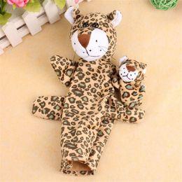 Wholesale Baby Leopard Plush - Wholesale- TS 2Pcs Leopard Animal Finger Puppet Baby Infant Kid Toy Plush Toys AUG 26