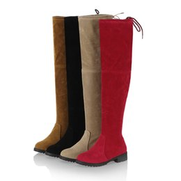 Wholesale Tall Brown Suede Boots Women - Womens Stretch Suede Over The Knee High Boots Sexy Fashion Lace Up Slim Faux Leather Tall Boots Woman Winter Shoes