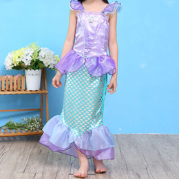 Wholesale Sleeveless For Summer Cartoon - Girls Cute Cartoon Mermaid Dresses Sleeveless Ankle Length Performance Costume Dresses for Children Contrast Color Dresses