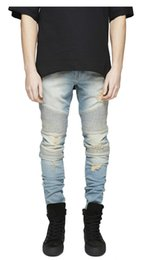Wholesale Boot Cut Blue Jeans - 2017 New Fashion Designers Mens knee Ripped Pencil Stretch Jeans zipper Boot Cut Slim Fit Skinny Biker Jeans Pants white & Black