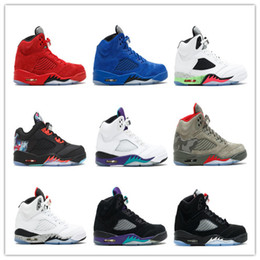 Wholesale Grape Boxes - With Box Retro 5 OG BLUE SUEDE WHITE CEMENT Basketball Shoes 5s Metallic Sliver Red Suede Game Royal Sneakers Black Grape Sport Sneakers