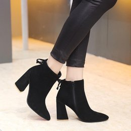 Wholesale Women S Boots Wholesale - new~u654 3 colors genuine leather pointy thick heel ankle short boots matte black grey tan luxury designer runway fashion brand s w
