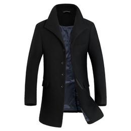 Wholesale Coat Makes Slim - Wholesale- Custom made Autumn New Men Winter Coat Long Wool Slim Good Quality Wintermantel Wolle herren