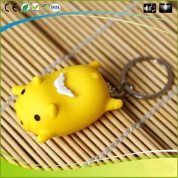 Wholesale Cartoon Pig Gift - Cartoon Flying Pig Model Music Led Light Keyring Glow Key Chain Action Figure for Children Kid Toys Gift