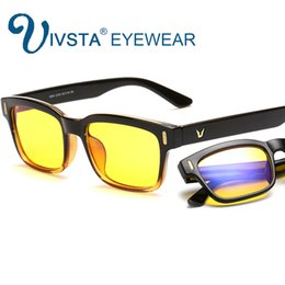 Wholesale Anti Radiation Glasses Computer - IVSTA Computer Glasses Gaming Eye Strain Relief Eyewear Men Anti Glare Anti Blue Ray radiation UV400 yellow lenses frame 8084LOL