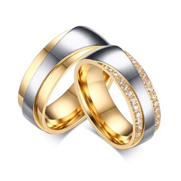 Wholesale Romantic Coupling - 18K Gold Plated Wedding Engagement Rings Stainless Steel Couple Rings For Women Men Jewelry Romantic CZ Stone Rings CR-065