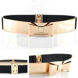 Wholesale Wholesale Leather Bling Belts - Wholesale- Woman Embellished Metal Keeper Metallic Belts Bling Big Gold Mirror Bow Wide Obi Belt