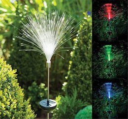 Wholesale Garden Lights Solar Colour - optic fiber light COLOUR CHANGING LED SOLAR POWER outdoor STAKE LIGHT GARDEN OUTDOOR PATH LAMP for home decoration