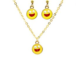 Wholesale Diy Jewellery Accessories - 2017 DIY Popular Smiling Face Pendant Necklace Earrings Set Fashion Cute Emoji Women Costume Accessories Yellow Jewellery Sets