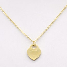 Wholesale Asian Love - New fashion T stainless steel love Necklace short female jewelry 18K Gold plated Titanium Single Pendant Necklaces for women