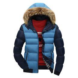 Épais manteaux chauds d'hiver en Ligne-Col de fourrure pour hommes manteau de mode d'hiver fermeture à glissière épais patchwork coupe-vent outwear veste de coton chaud manteau pour hommes veste longue