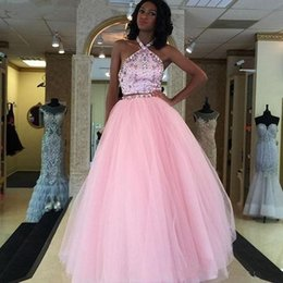 Wholesale Halter Lace Prom Dress Blush - 2017 Two Pieces Blush Pink Prom Dresses Halter Neck Sleeveless Backless Beaded Crystal Ruffy Tulle Party Dress Plus Size Evening Gowns