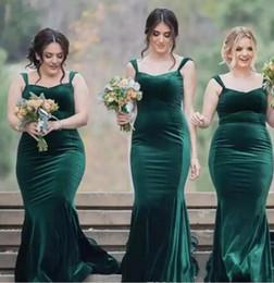Wholesale Dark Blue Velvet Bridesmaid Dresses - Hunter Green Velvet Mermaid Bridesmaid Dresses 2017 Straps Square Neck Long Maid Of Honor Gowns Vintage Wedding Guest Dresses