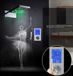 Wholesale Digital Thermostats - Digital Thermostat Waterfall Shower Controller Touch Control Panel Large SUS304 Rainfall Massage Bathroom Celling Mounting LED shower head