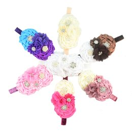 Wholesale Rhinestone Rosette Buttons - free shipping 50pcs lot Baby Girl Christmas Gifts Rosette Satin Rose Flower Headband Colorful onions Headband Rhinestone Pearl Button FD219