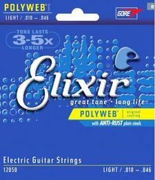 Comercio al por mayor 5 sets Elixir 12050 Cuerdas de Guitarra Eléctrica 010-046 Pulgadas POLYWEB Recubrimiento LUZ Instrumentos Musicales Accesorios de la Guitarra desde fabricantes