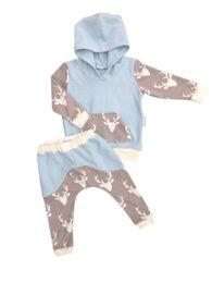 Wholesale Deer Baby Coat - Wholesale- 2Pcs Newborn kids Deer Pocket Front set Baby Girls Boys Long Sleeve Hooded Coat Tops+Deer Pants Outfits Set