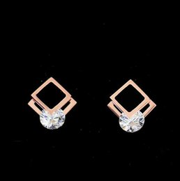 Wholesale Top Luxury Diamond Earrings - New Arrival Top Quality 316L Titanium steel Stud Earring Luxury Square with Diamond and Black Women Charm Earring Fashion Jewelry PS4119