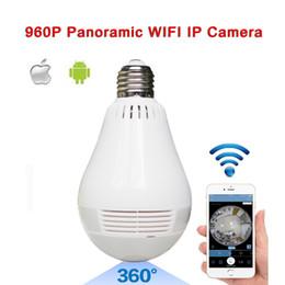 Wholesale Fisheye Security Camera - New E27 Lamp Camera Bulb Light Wireless HD IP Camera Wifi Home Security Fisheye 360 Panoramic P2P Audio Surveillance 960P V380 Onvif cam