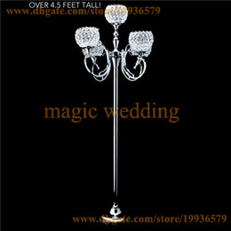 """Wholesale Wholesale Crystal Tall Candle Holders - REAL CRYSTAL BEADED 5 ARM GLOBE SILVER """"PRESTIGE"""" CANDELABRA - 56"""" TALL FLOOR CANDLE HOLDERS"""