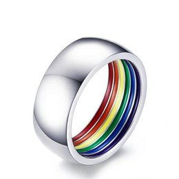 Wholesale Pride Stainless Steel Rings - fashion Inside Rainbow Ring For Men Stainless Steel Wedding Ring 8MM Wide Gay Pride LGBT Jewelry