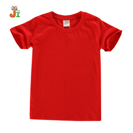 Wholesale Plain Shirts Kids - 2017 New Fasion Tops High Quality Girls Boys T-shirt Comfortable Cotton Summer Solid Unisex 4-10Y Plain Red Kids Clothes
