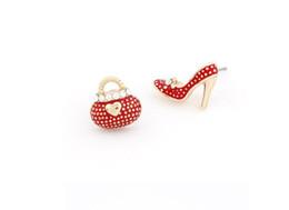 Wholesale Asymmetric Heels - Asymmetric High Heel Shoe Bag Stud Earrings for Women Crystal Rhinestone Lady Girls Earrings 3 Colors